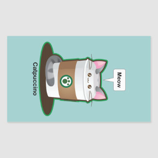 Cute Cat Coffee Rectangular Sticker