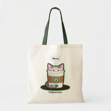 Coffee Themed Cute Cat Coffee Tote Bag