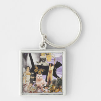Cute Cat Collage 4 Keychains