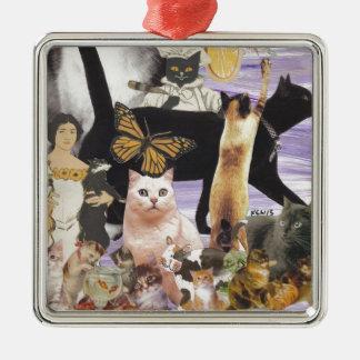 Cute Cat Collage 4 Metal Ornament