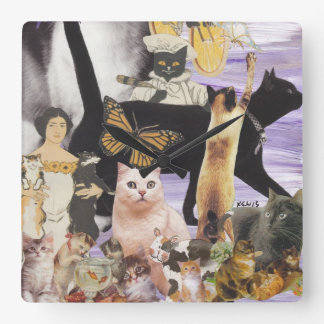 Cute Cat Collage 4 Square Wall Clock