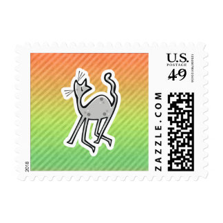 Cute Cat; Colorful Postage Stamp