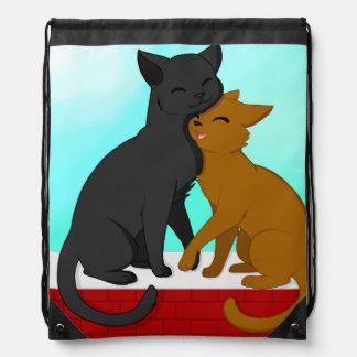 Cute Cat Couple Drawstring Bag