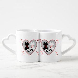 Cute Cat Couple Red Hearts Lovers Mug
