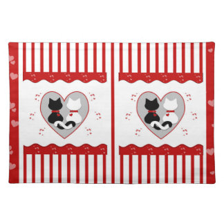 Cute Cat Couple Red Hearts  Placemat Cloth Placemat