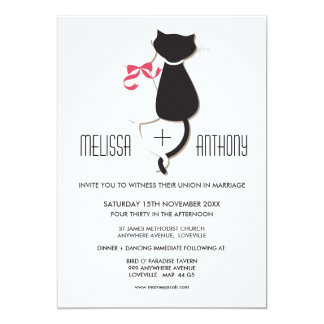 Cute Cat Couple Stripes Wedding Invite
