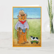 Cute cat cowboy, cattle rancher cow greeting card