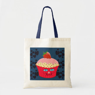 Cute Cat Cupcake with Heart Background Tote Bag