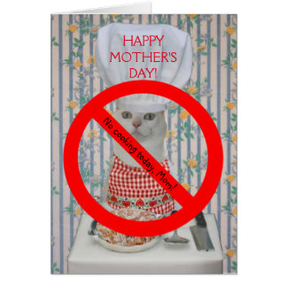 Cute Cat Customizable Mother's Day No Cooking Greeting Card