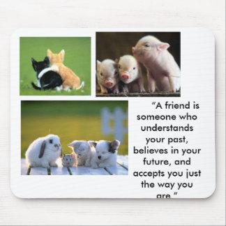 "cute_cat, cute1, piglets,       ""A friend is so... Mouse Pad"