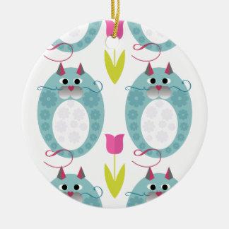 Cute Cat Design Ceramic Ornament