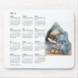 Cute cat & dog calendar mousepad