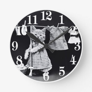 Cute Cat Doing Laundry in Clothes Vintage Print Round Clock