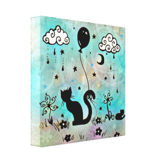 Cute Cat Doodle Gallery Wrapped Canvas