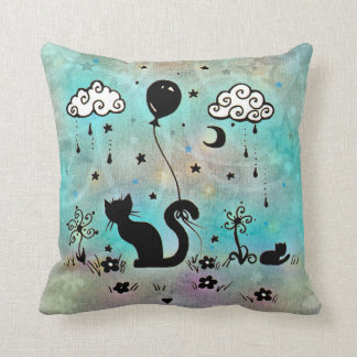 Cute Cat Doodle Fantasy Silhouette Artwork Throw Pillow