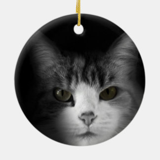 Cute Cat Double-Sided Ceramic Round Christmas Ornament