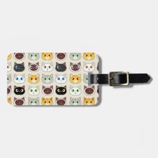 Cute Cat Expressions Pattern Bag Tag