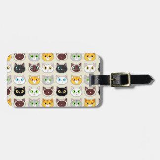 Cute Cat Expressions Pattern Bag Tag