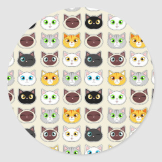 Cute Cat Expressions Pattern Classic Round Sticker