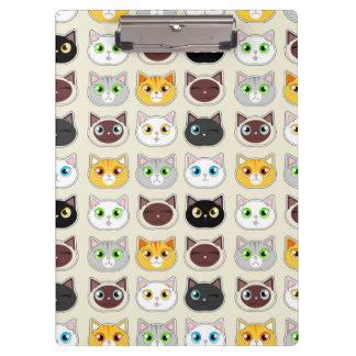 Cute Cat Expressions Pattern Clipboard