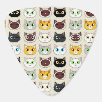 Cute Cat Expressions Pattern Guitar Pick by JKLDesigns at Zazzle