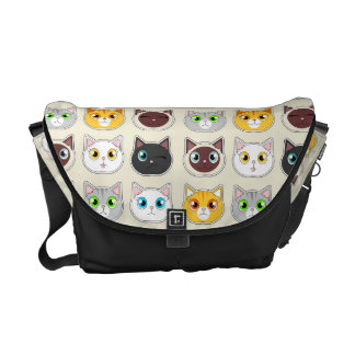 Cute Cat Expressions Pattern Messenger Bag
