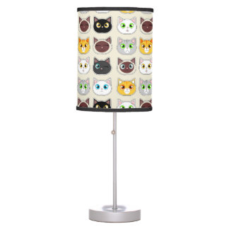 Cute Cat Expressions Pattern Table Lamp
