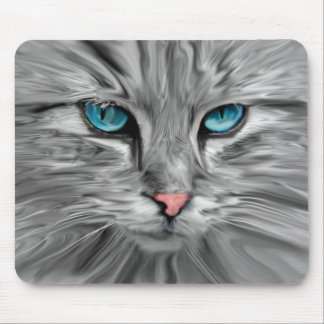 Cute Cat Eyes Face Water Color Oil Painting Art Mouse Pad
