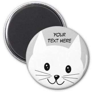 Cute Cat Face. 2 Inch Round Magnet