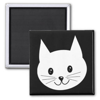 Cute Cat Face. 2 Inch Square Magnet