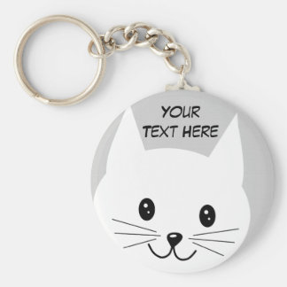 Cute Cat Face. Basic Round Button Keychain