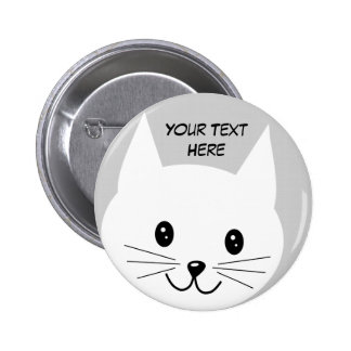 Cute Cat Face. Button