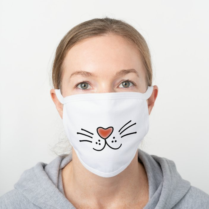 Cute Cat Face Cartoon White Cotton Face Mask Zazzle Com