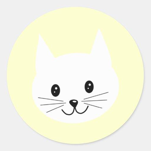 Cute Cat Face. Classic Round Sticker