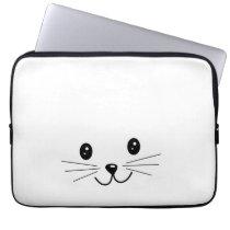 Cute Cat Face. Computer Sleeve