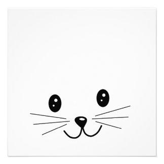 Cute Cat Face Custom Invitations