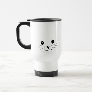 Cute Cat Face. 15 Oz Stainless Steel Travel Mug