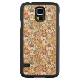 Cute Cat Face Pattern Carved® Maple Galaxy S5 Case