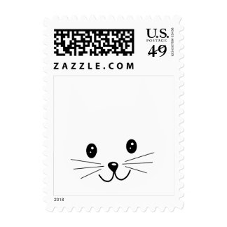 Cute Cat Face. Postage Stamp