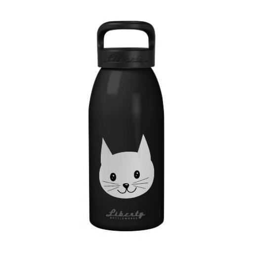 Cute Cat Face. Reusable Water Bottles