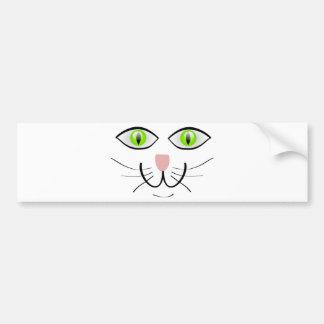 Cute Cat Face with Green Eyes Bumper Sticker
