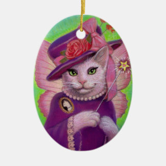 Cute Cat Fairy Fantasy Art Oval Christmas Ornament