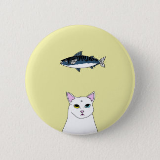 Cute Cat Fish cartoon Round Botton Pinback Button