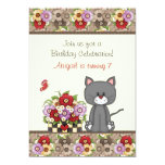 """Cute Cat, Flowers and Butterflies Birthday Invite 5"""" X 7"""" Invitation Card"""