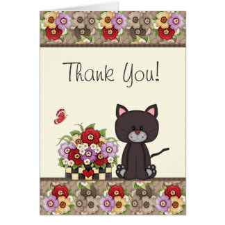 Cute Cat, Flowers and Butterfly Thank You Card