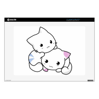 "Cute cat friends 15"" laptop decal"