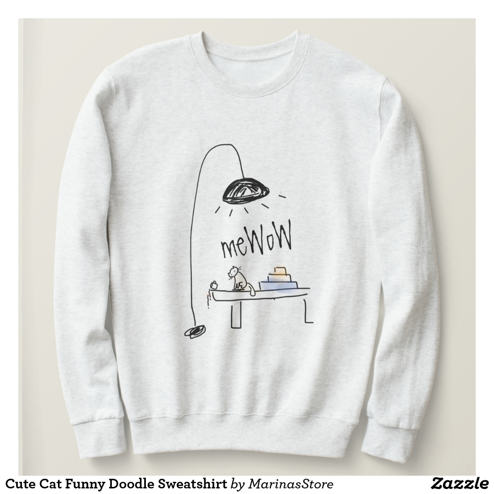 Cute Cat Funny Doodle Sweatshirt - Creative Long-Sleeve Fashion Shirt Designs