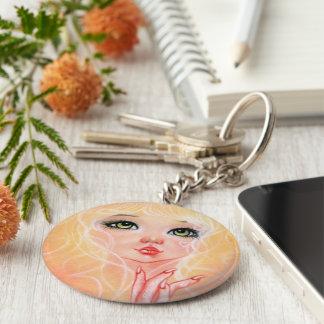 Cute Cat Girl Pink Keychain