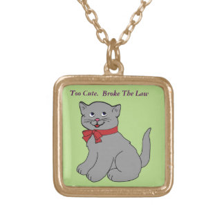 Cute Cat Gold Plated Necklace