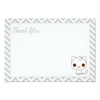 Cute Cat Gray Cheveron Thank You Card